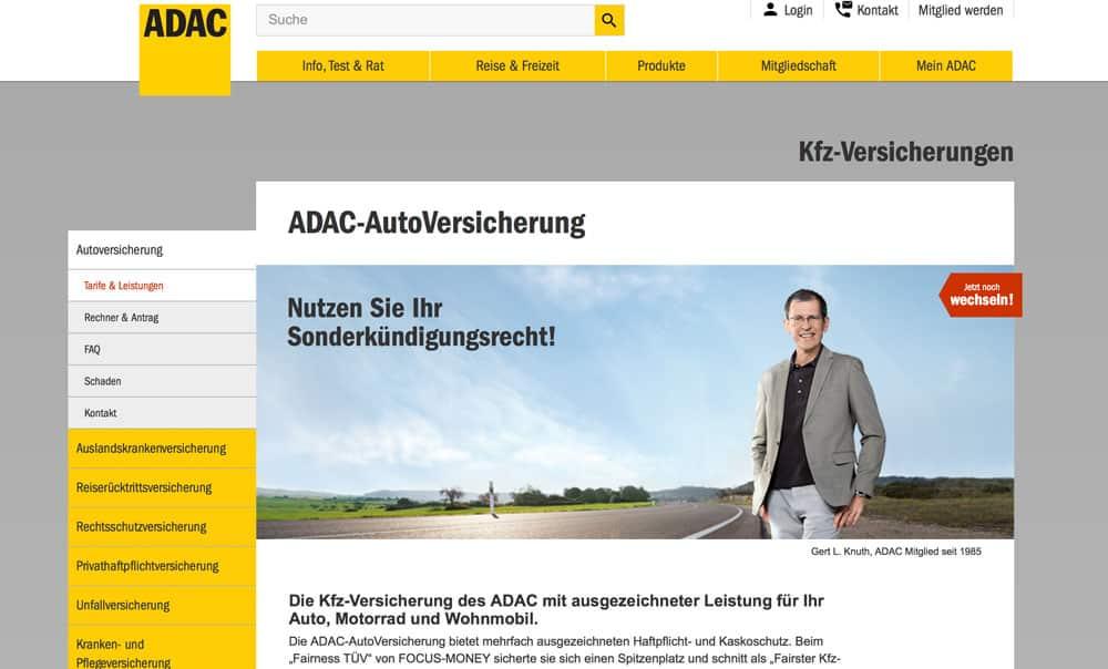 Die Webseite vom ADAC