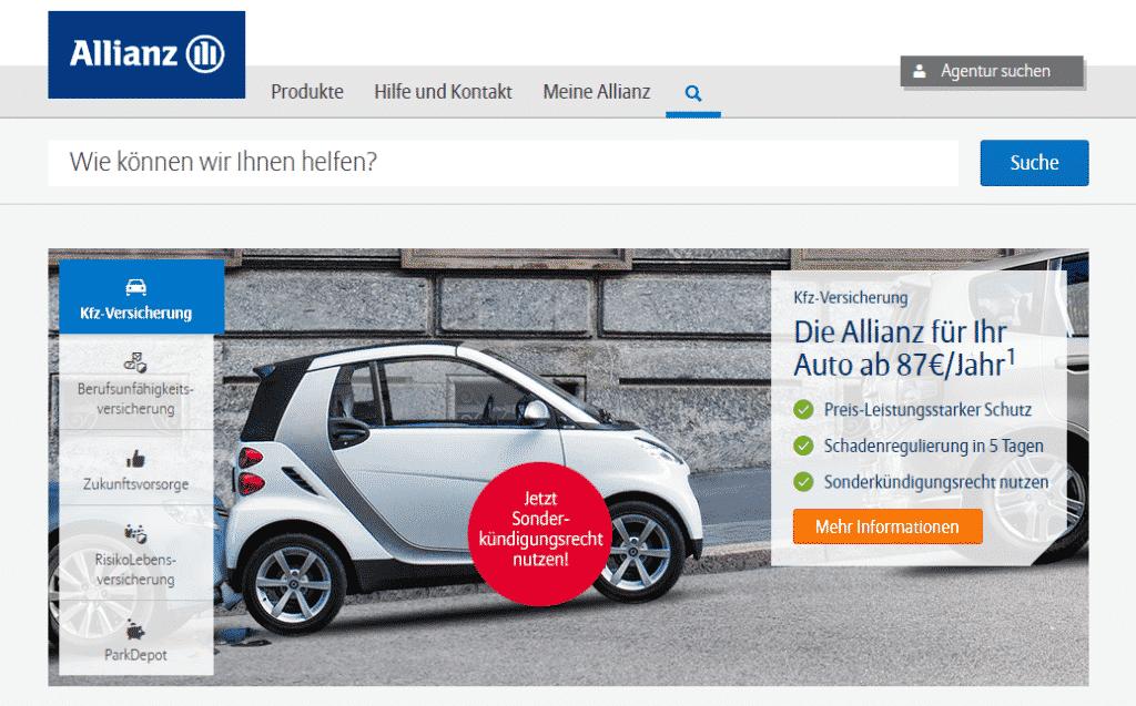 Die Webseite der Allianz