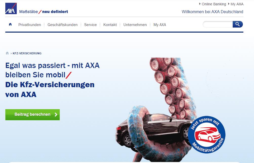 Die Webseite der AXA