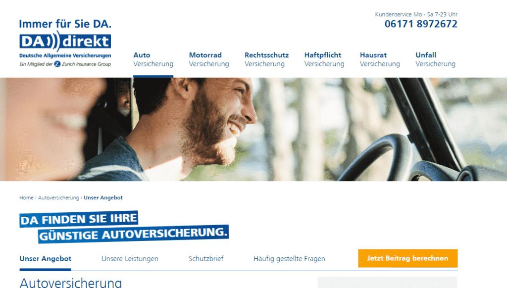 Die Webseite der DA Direkt