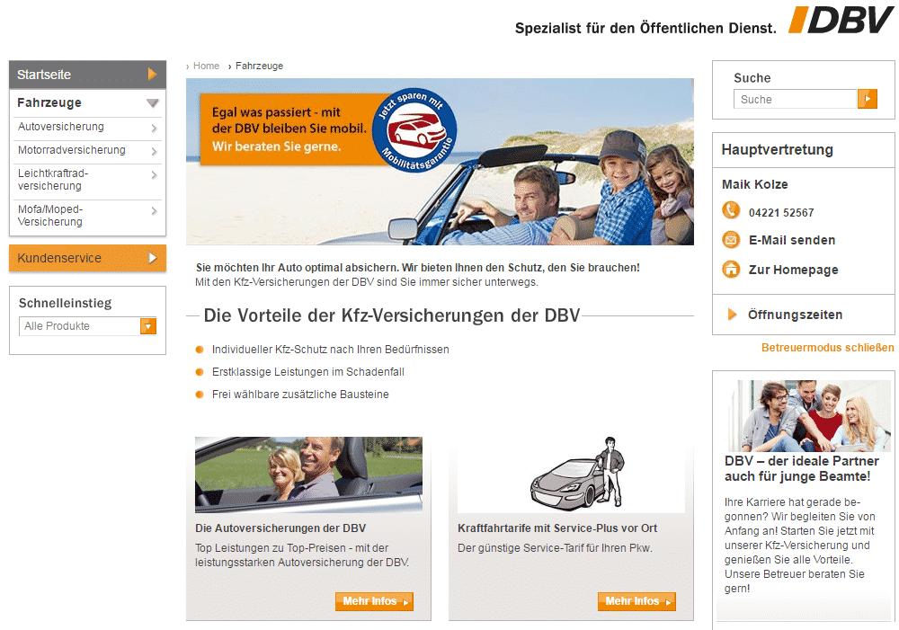 Die Webseite der DBV