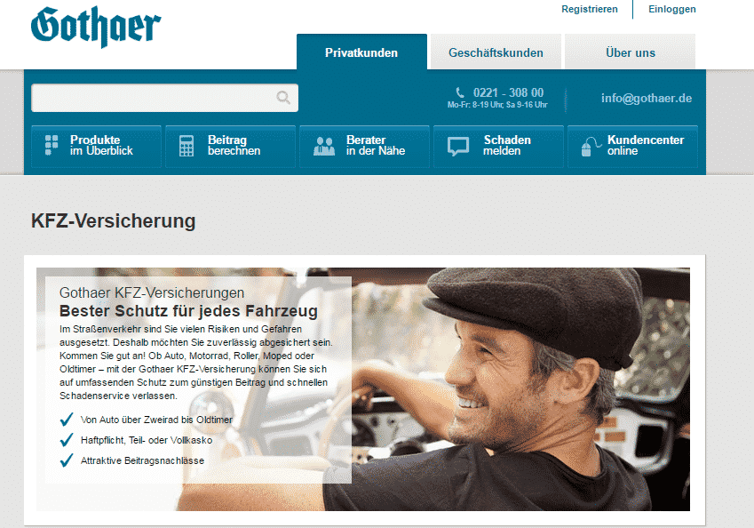 Die Webseite der Gothaer Versicherung
