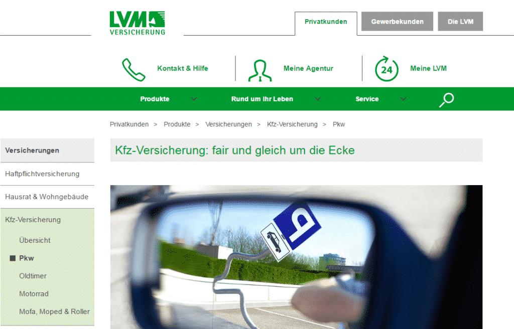 Die Webseite der LVM Versicherung