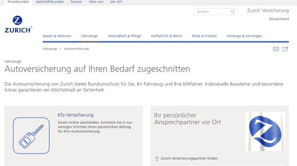 Die Webseite der Zurich